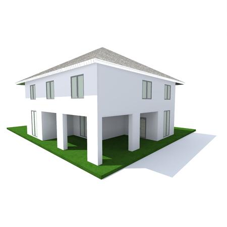 two-storey cottage of white concrete blocks on a white background