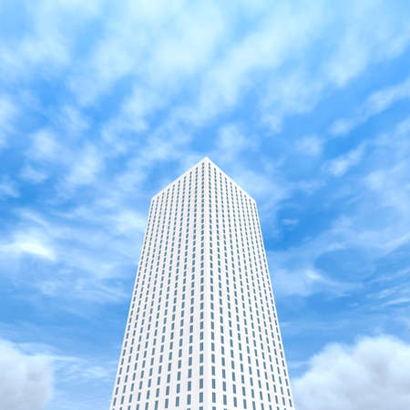 bottom view of the white skyscraper on the background of blue sky