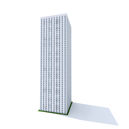 bright fifty storey skyscraper on a white background