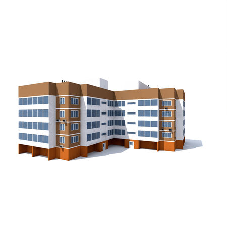 residential apartment building with balconies on white background Stock Photo