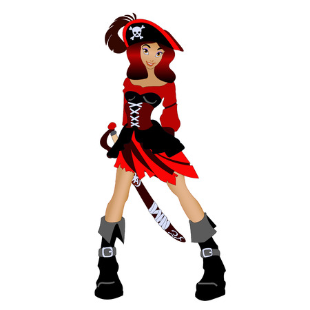 female pirate: female pirate with a sword isolated on white background