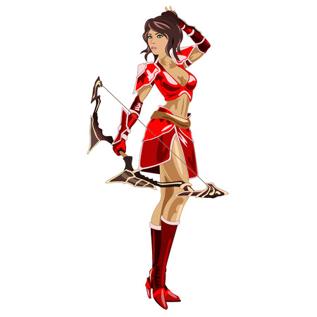 bowman: the girl Archer in a red suit and bow in hand, isolated on white background