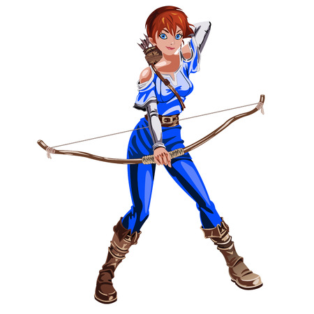 bowman: the girl Archer in a blue suit with a bow in hand isolated on white background