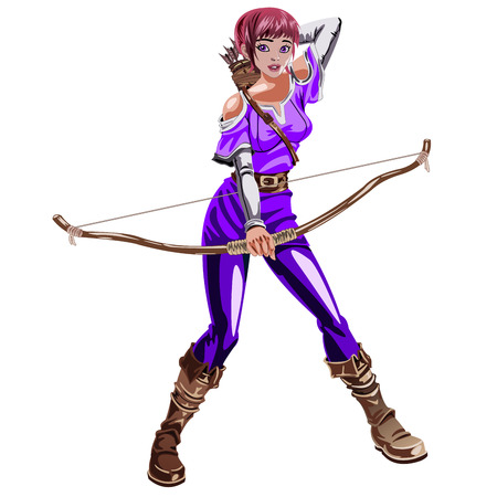 bowman: the girl Archer in a purple suit with a bow in hand isolated on white background