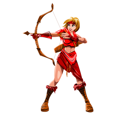 marksman: the girl Archer in a red suit with a bow in hand isolated on white background Illustration