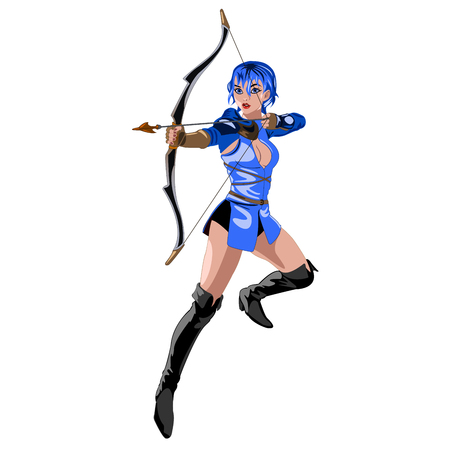 marksman: the Archer girl in a blue suit with a bow in his hand isolated on white background