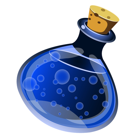 mana: magic drink in a bottle on white background Illustration