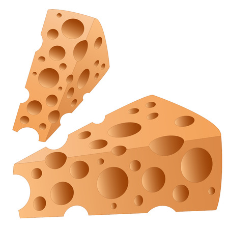 two pieces: two pieces of cheese with holes on a white background
