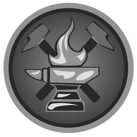 blacksmith: icon blacksmith shop from anvils and hammers