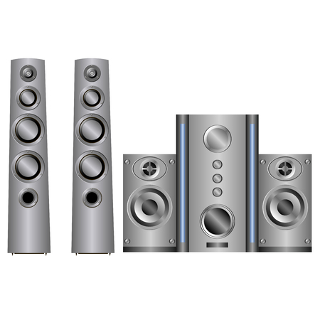 speaker system: sistema de altavoz de la m�sica en el fondo blanco