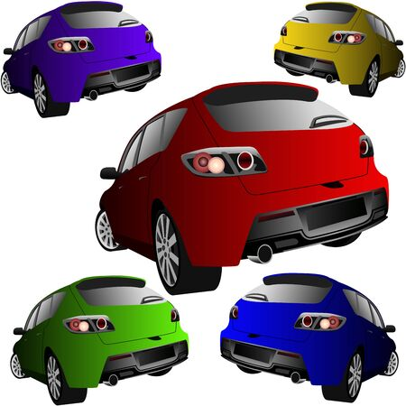 sports cars of different colors, rear view Illustration