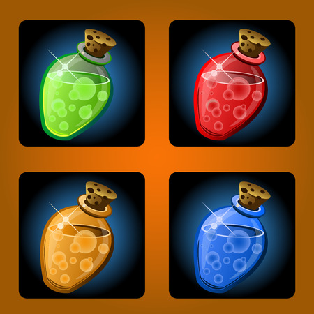 mana: icons of ancient magical drinks in flasks
