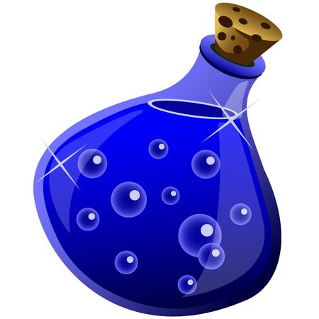 elixir: magic drink in a bottle on white background Illustration