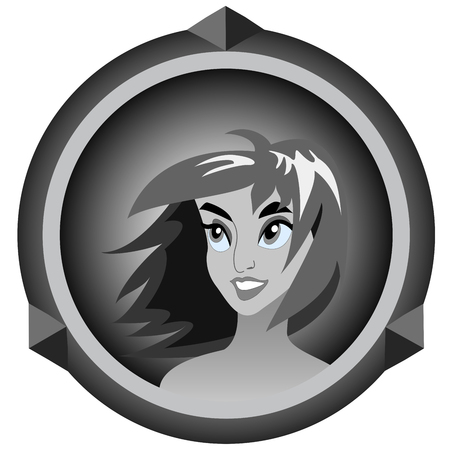 black and white icon with a portrait of a girl on a white background