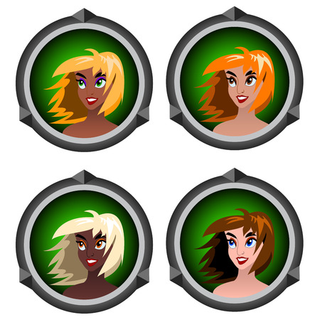 icons with portraits of girls on a white background