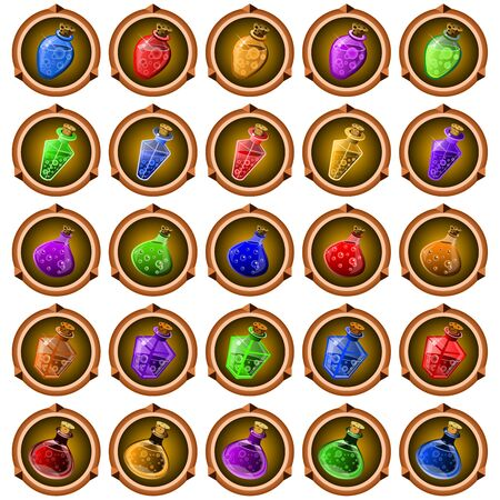 mana: round icons of ancient magical potions over white background