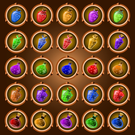 mana: round icons of ancient magic potions on a dark background