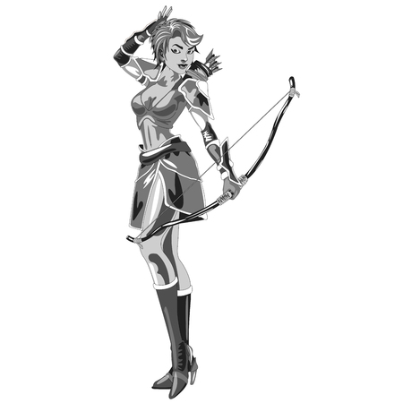 bowman: the girl Archer in a suit with bow in hand on white background