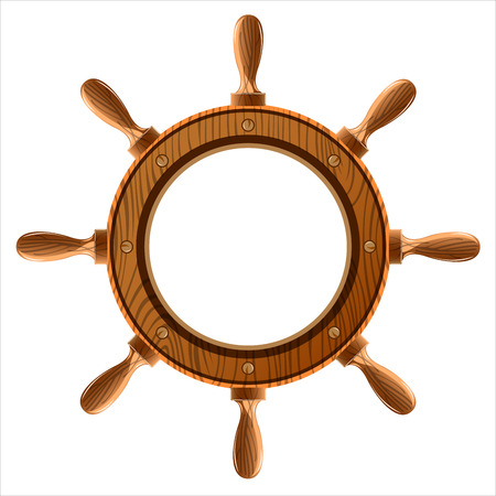 wooden ship wheel on a white background Illustration