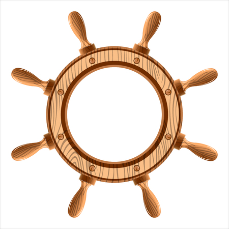 ship wheel: wooden ship wheel on a white background Illustration