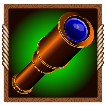 ocular: games icon with vintage pirate telescope inside Illustration