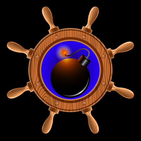 icon in the form of a ship steering wheel with pirate bomb inside