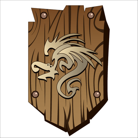 buckler: old wooden shield with a dragon print on a white background