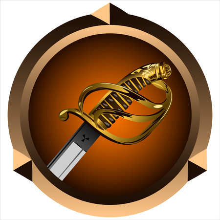 round icon for games with a pirate sword inside Illustration