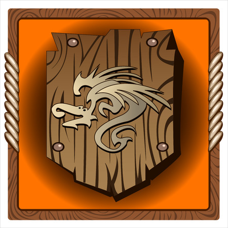 buckler: square icon with antique wooden shield with dragon print