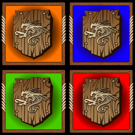 buckler: square icons with vintage wood shield with dragon print