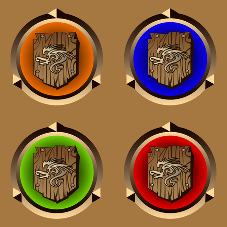 hauberk: round icons with antique wooden shield with dragon print