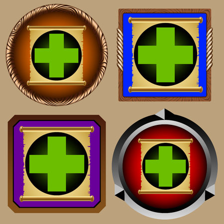 scroll of the law: icons for games with the ancient scroll of weakening Illustration