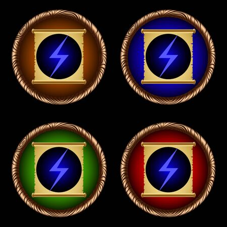 scroll of the law: icons for games with the ancient magic scroll of lightning Illustration