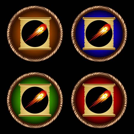 icons for games with an ancient magical scroll of fireball Illustration