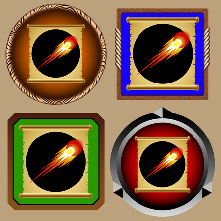 fireball: icons for games with an ancient magical scroll of fireball Illustration