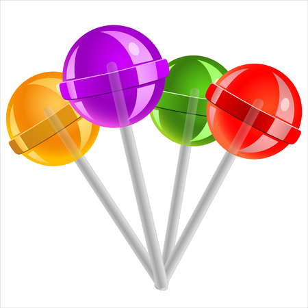 suck: sweet candy lollipops on white background