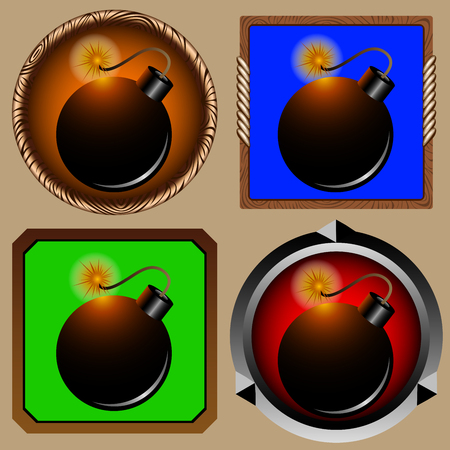 round and square icons for game with pirate bomb