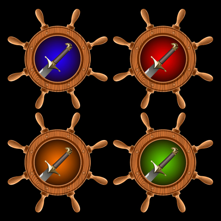 round icons in the form of a ship steering wheel with pirate swords inside