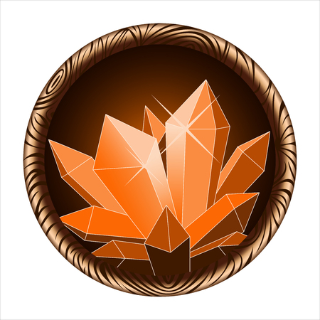quartz crystal: round icon of a glowing magic crystal