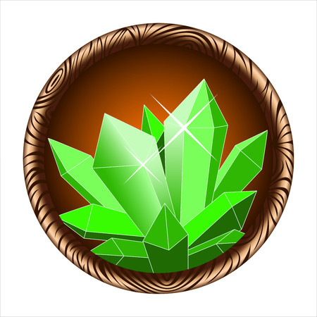 mineral stone: round icon of a glowing magic crystal