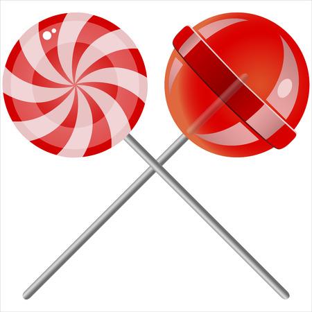 lollipop: sweet candy lollipops on white background
