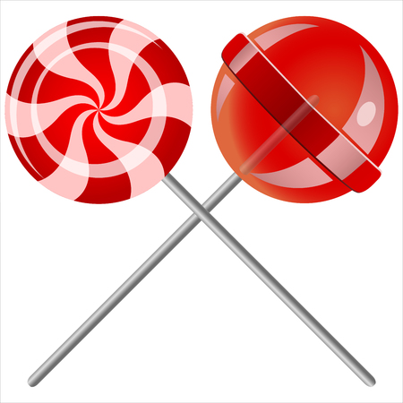 sweet candy lollipops on white background
