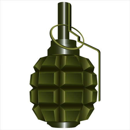 munition: offensive fragmentation grenade with cotter and ring on white background