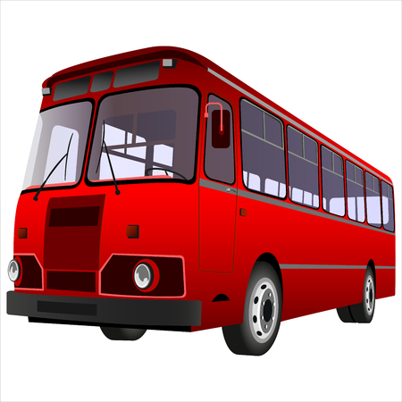 passenger: passenger bus for transportation of people on a white background