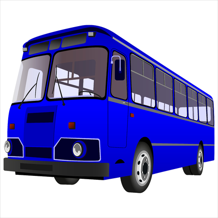 motor coach: passenger bus for transportation of people on a white background