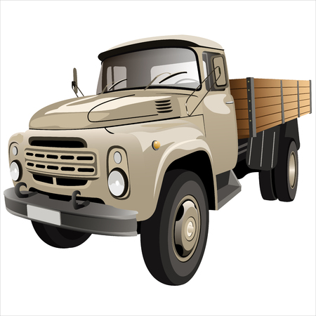 moving van: cargo retro with side car body on a white background