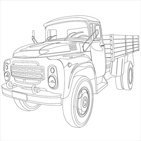 monster truck: cargo retro with side car body on a white background