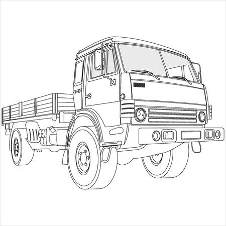 Página Para Colorear Con Camiones Y Autobuses En Estilo De Dibujos ...