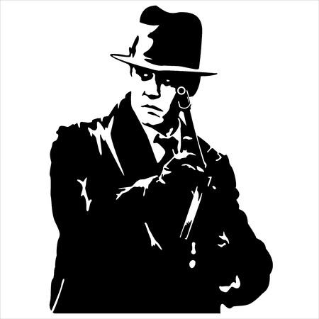 pistola: silueta de un gángster con una pistola en la mano sobre fondo blanco