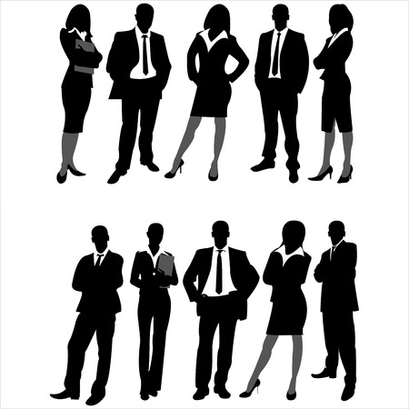 woman boss: silhouettes of business men and women on white background